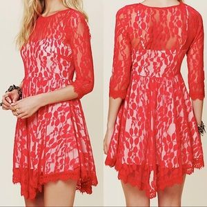 Free People Floral Mesh Lace Dress in Red Hot Sz 2